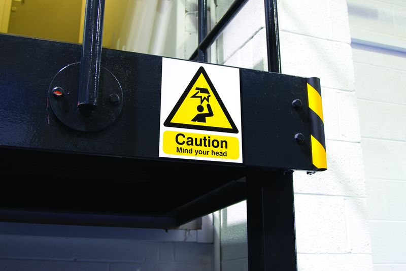 250 x 200 mm caution mIndustrial your head deluxe high gloss rigid plastic 1 mm sign