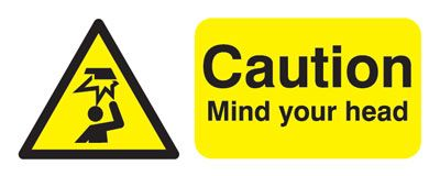 UK hazard signs - 100 x 250 mm caution mIndustrial your head self adhesive vinyl labels.