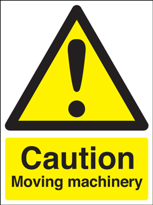 400 x 300 mm caution moving machinery self adhesive vinyl labels.