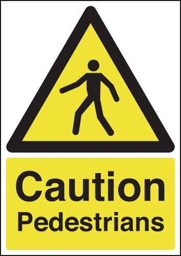 UK pedestrian labels - A5 caution pedestrians self adhesive vinyl labels.