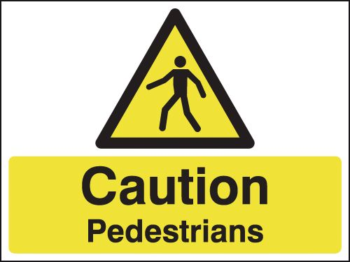 UK pedestrian labels - 100 x 250 mm caution pedestrians self adhesive vinyl labels.