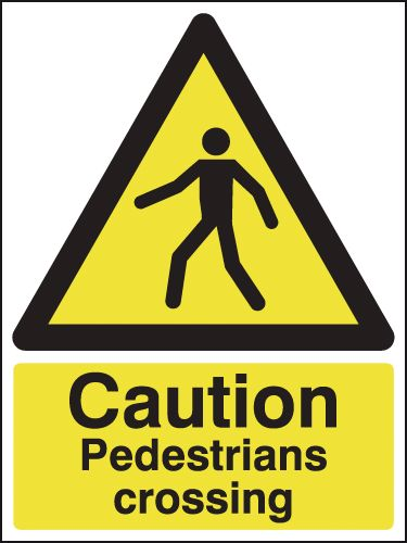 UK pedestrian labels - 800 x 600 mm caution pedestrians crossing self adhesive vinyl labels.