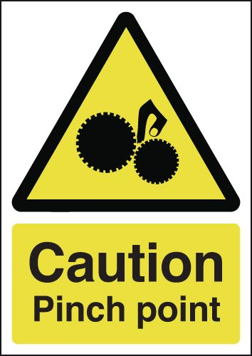 UK hazard signs - A4 caution pinch point self adhesive vinyl labels.