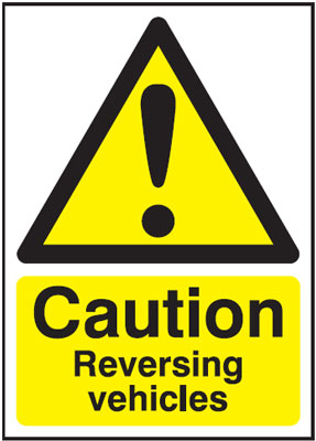 UK hazard signs - A5 caution reversing vehicles self adhesive vinyl labels.