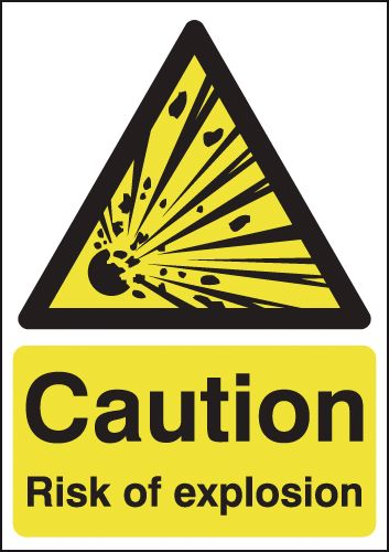 350 x 250 mm caution risk of explosion