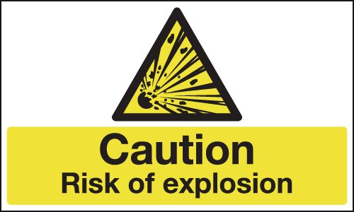 UK hazard signs - 300 x 500 mm caution risk of explosion self adhesive vinyl labels.