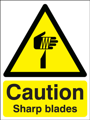 400 x 300 mm caution sharp blades self adhesive vinyl labels.