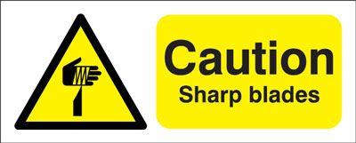 100 x 250 mm caution sharp blades self adhesive vinyl labels.