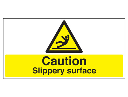 50 x 100 mm caution slippery surface self adhesive vinyl labels.