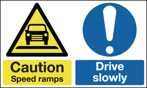 UK hazard signs - 300 x 500 mm caution speed ramps drive slowly self adhesive vinyl labels.