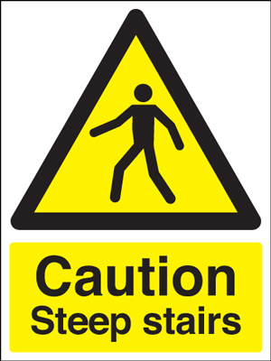 400 x 300 mm caution steep stairs self adhesive vinyl labels.