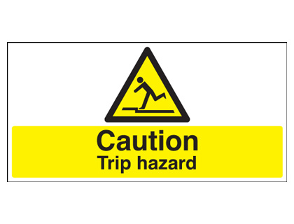 200 x 400 mm caution trip hazard 1.2 mm rigid plastic signs with self adhesive backing.