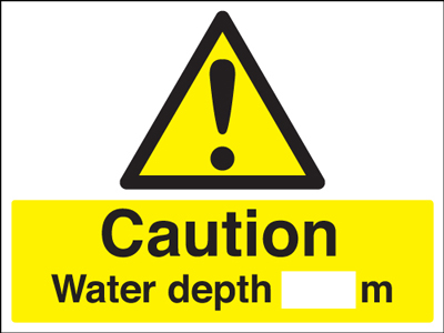 450 x 600 mm caution water depth M Mediumself adhesive vinyl labels.