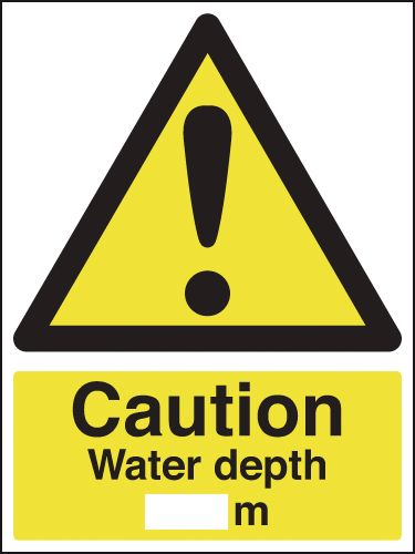600 x 450 mm caution water depth M Mediumself adhesive vinyl labels.