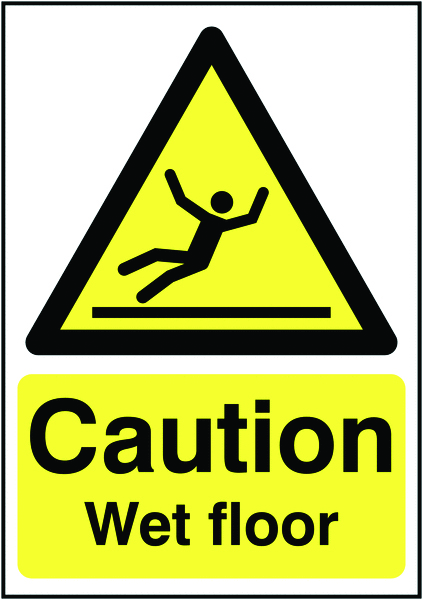 400 x 300 mm caution wet floor 1.2 mm rigid plastic signs with self adhesive backing.