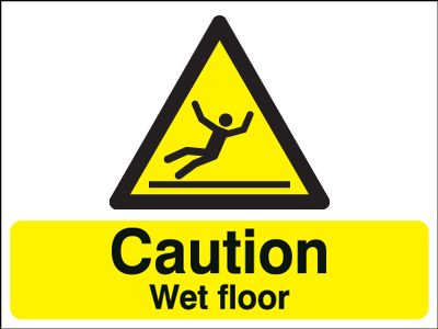 100 x 250 mm caution wet floor 1.2 mm rigid plastic signs with self adhesive backing.