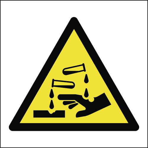 UK hazard signs - 125 x 125 mm corrosive symbol 1.2 mm rigid plastic signs with self adhesive backing.