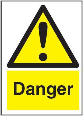 250 x 200 mm danger 1.2 mm rigid plastic signs with self adhesive backing.
