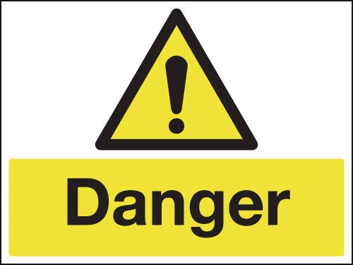 100 x 250 mm danger 1.2 mm rigid plastic signs with self adhesive backing.