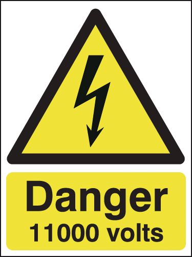 175 x 125 mm danger 11000 volts 1.2 mm rigid plastic signs with self adhesive backing.