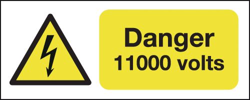 100 x 250 mm Danger 11000 Volts Safety Labels