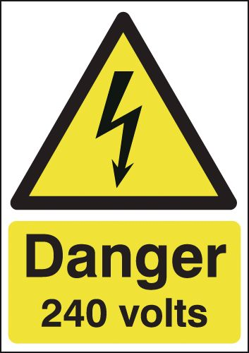 175 x 125 mm danger 240 volts 1.2 mm rigid plastic signs with self adhesive backing.