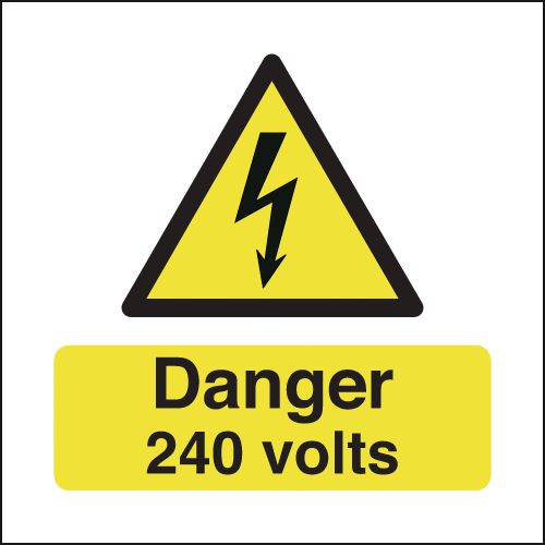 25 x 25 danger 240 volts self adhesive label.