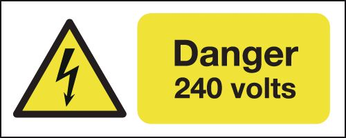 100 x 250 mm danger 240 volts 1.2 mm rigid plastic signs with self adhesive backing.