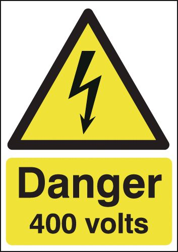175 x 125 mm danger 400 volts 1.2 mm rigid plastic signs with self adhesive backing.