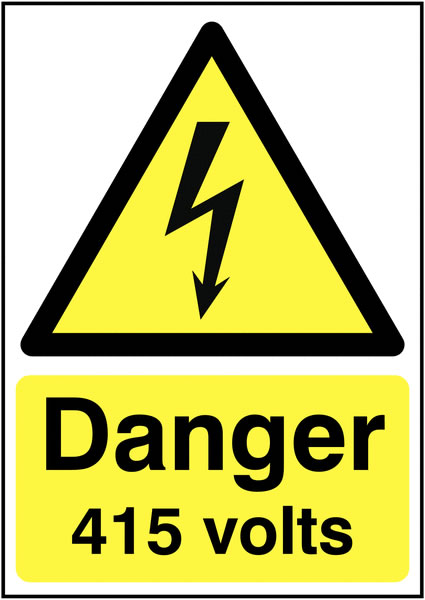 175 x 125 mm danger 415 volts 1.2 mm rigid plastic signs with self adhesive backing.