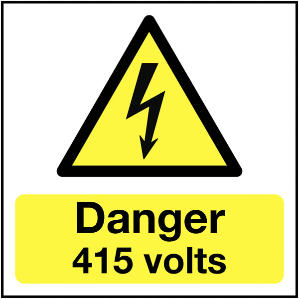 25 x 25 danger 415 volts self adhesive label.
