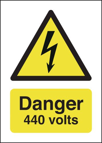 175 x 125 mm danger 440 volts 1.2 mm rigid plastic signs with self adhesive backing.