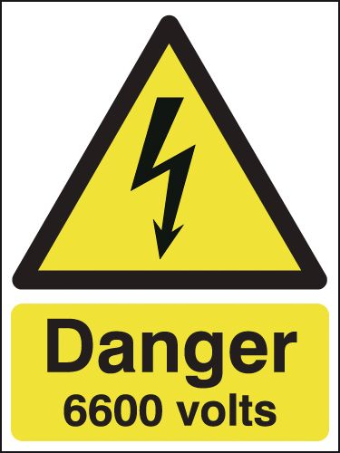 175 x 125 mm danger 6600 volts 1.2 mm rigid plastic signs with self adhesive backing.