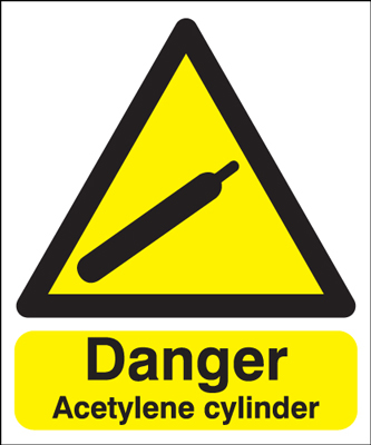 300 x 250 mm danger acetylene cylinder self adhesive vinyl labels.
