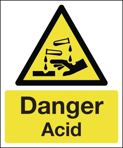 150 x 125 mm danger acid 1.2 mm rigid plastic signs with self adhesive backing.