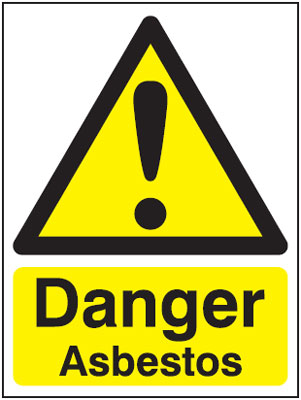 100 x 75 mm danger asbestos 1.2 mm rigid plastic signs with self adhesive backing.