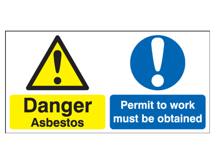 300 x 600 mm danger asbestos permit to work 1.2 mm rigid plastic signs with self adhesive backing.