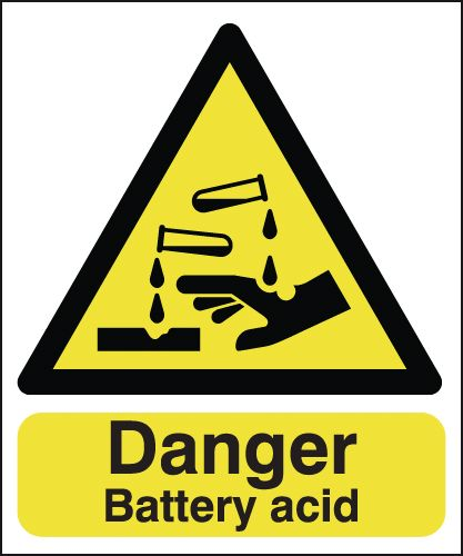 UK hazard signs - 150 x 125 mm danger battery acid 1.2 mm rigid plastic signs with self adhesive backing.