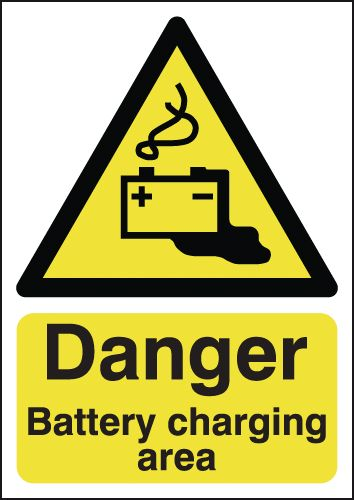 250 x 200 mm danger battery charging area 1.2 mm rigid plastic signs.