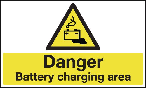 300 x 500 mm danger battery charging area 1.2 mm rigid plastic signs.