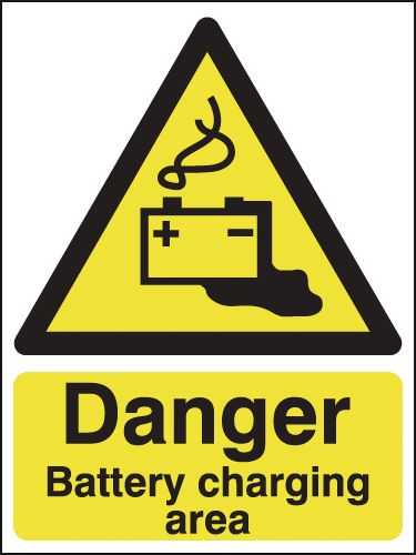 600 x 450 mm Danger Battery Charging Area Safety Signs