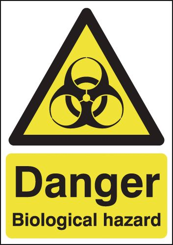 UK hazard signs - A5 danger biological hazard 1.2 mm rigid plastic signs with self adhesive backing.