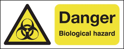 100 x 250 mm danger biological hazard 1.2 mm rigid plastic signs with self adhesive backing.
