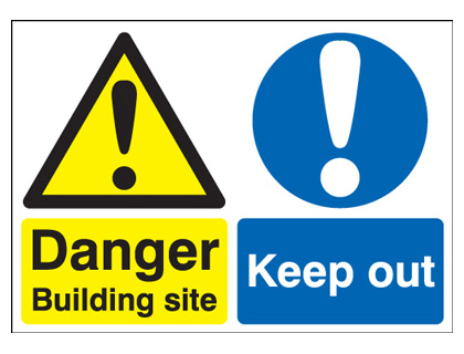 A2 danger building site keep out self adhesive vinyl labels.