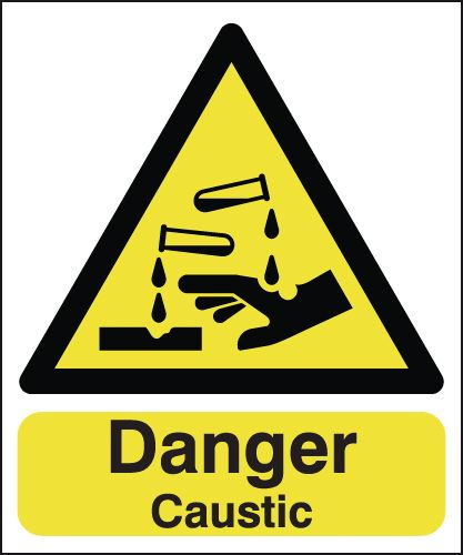 150 x 125 mm danger caustic 1.2 mm rigid plastic signs with self adhesive backing.