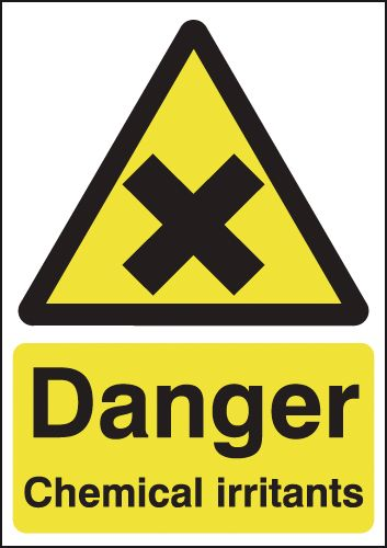 175 x 125 mm danger chemical irritants 1.2 mm rigid plastic signs with self adhesive backing.