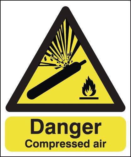 UK hazard signs - 300 x 250 mm danger compressed air 1.2 mm rigid plastic signs.