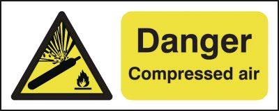 100 x 250 mm danger compressed air 1.2 mm rigid plastic signs with self adhesive backing.