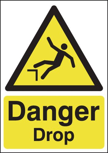 175 x 125 mm danger drop 1.2 mm rigid plastic signs with self adhesive backing.
