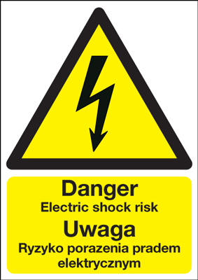 UK electric shock signs - A5 danger electric shock risk uwaga ryzy self adhesive vinyl labels.